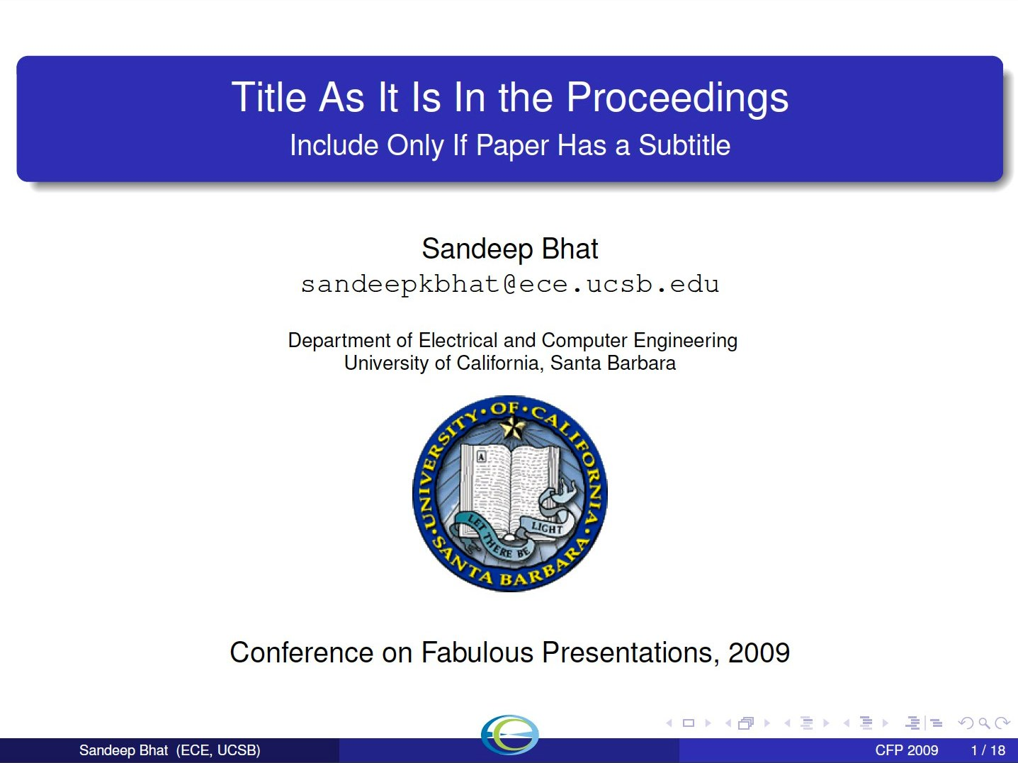 sandeep bhat: downloads, Presentation In Latex Template, Presentation templates